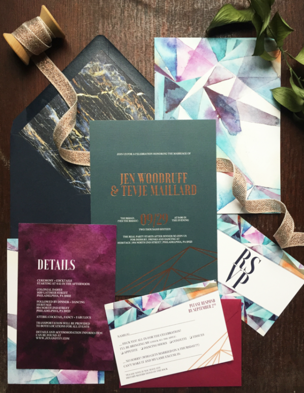 Wedding invitation trends for 2017 | Metallic geometric watercolour modern wedding invitations
