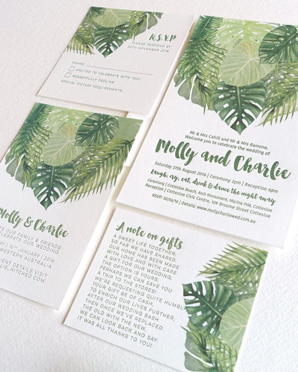 Wedding Invitation Trends for 2017 | Green Foliage Wedding Invitation Suite