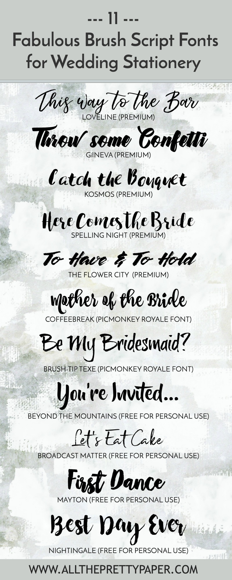 11 of the best brush script fonts for wedding stationery - including a range of premium and free hand lettering, calligraphy and brush fonts