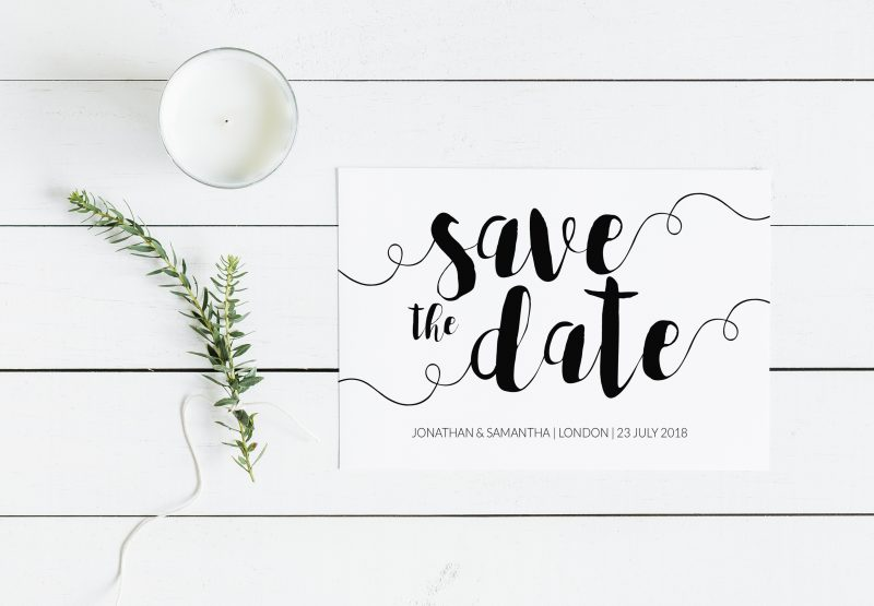 Printable Wedding Invitations | Printable Save the Date | Modern Minimalist Wedding Stationery | Brush Calligraphy Save the Date