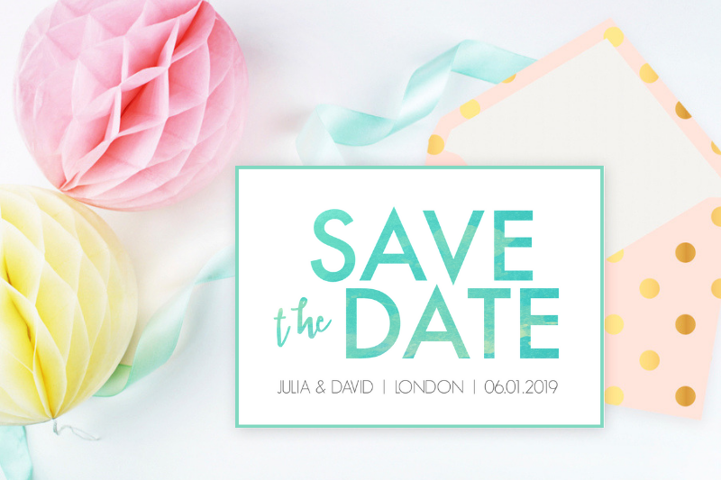 Bright modern watercolor texture save the date | Watercolor wedding invitation diy
