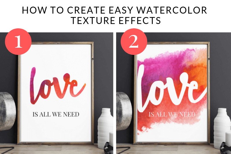How to create watercolor texture text effects in Picmonkey | Watercolor Valentines Day art print
