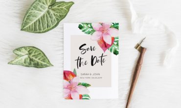 Create floral cheap save the dates using Picmonkey | Hawaiian wedding invitation template