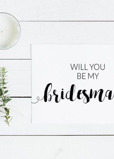 Modern Minimalistic Will You Be My Bridesmaid Free Printable Card
