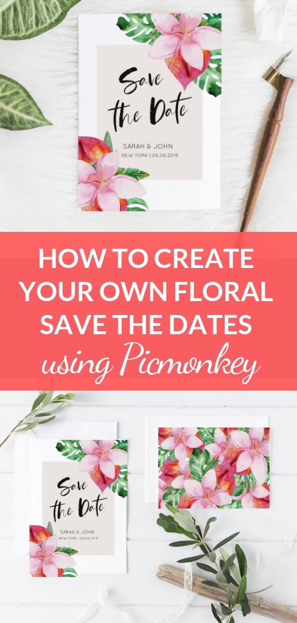 Create your own floral save the dates using Picmonkey