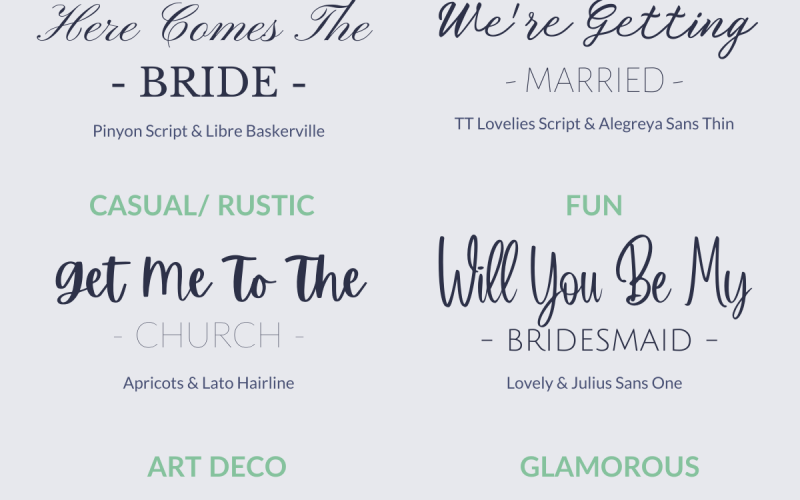 The best wedding font combinations using free Canva fonts